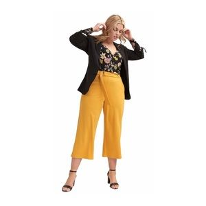 Love&Legend Belted Wide Leg Culottes Crepe Mustard